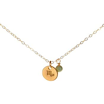 c71c71f7ab7a3a EFYTAL Scorpio Necklace - Tiny Gold Filled Simple Zodiac Sign with Birth  Month Charm, Zodiac Pendant