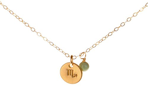 EFYTAL Scorpio Necklace - Tiny Gold Filled Simple Zodiac Sign with Birth Month Charm, Zodiac Pendant