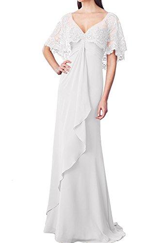 V Jugendweihe Partykleider Kleider Abschlussballkleider Abendkleider Damen Braut La Lang Weiß Spitze Marie Ausschnitt qxzw6anTt0