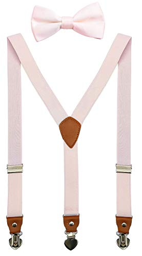 SUNNYTREE Boys Suspenders with Bow Tie Set Adjustable Y Back for Wedding Party 30 inches Light Pink ()