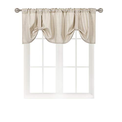 Home Queen Room Darkening Tie Up Shade Curtain Valance Window Treatment for Living Room, Adjustable Ballon Rod Pocket Drape Valance, Set of 1, 54 X 18 Inch, Taupe (Valances Room Living Curtain For)