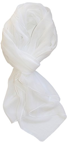 Linen Blend Scarf - Love Lakeside Modern Chiffon Solid Color Silk Blend Oblong Scarf White
