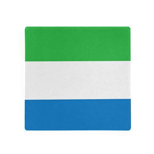 (Sierra Leone Flag Square Coaster for Drinks Set of 4)