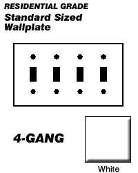 Leviton Electrical Wall Plate, Toggle Switch, 4Gang White