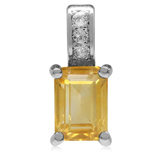 (1.04ct. Natural Citrine & White Topaz 925 Sterling Silver Slide Pendant)