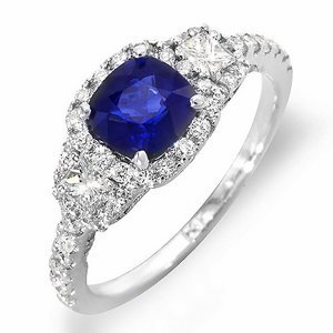 (1.2 ct Ceylon blue Sapphire and diamond ring 14k gold)