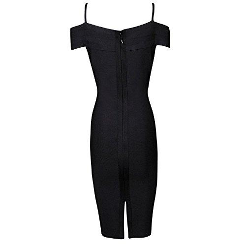 HLBandage Spaghetti Strap V Neck Off Shoulder Knee Length Bodycon Bandage Dress Negro