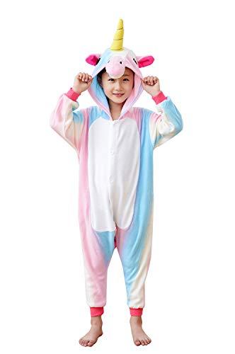 Xiqupjs Kids Unicorn Onesies Animal Cartoon Cosplay Homewear Sleepwear One-Piece Halloween Gift Colored Blue 6-8 Years(105#)