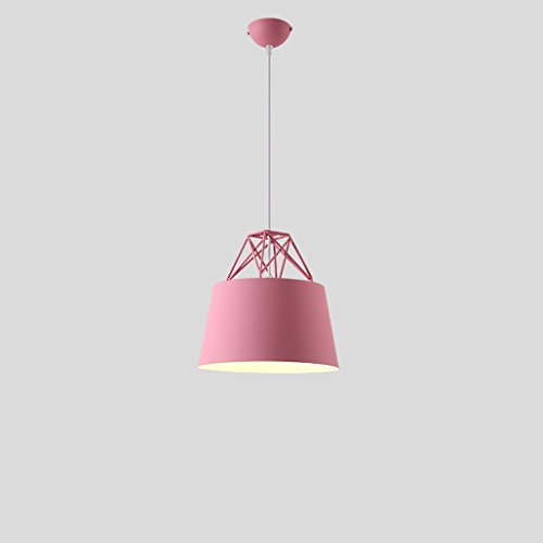 Cherry Hall Pendant - Baycher Modern Simplicity Iron Designer Macaron Single Head Chandelier Creative Pot Cover E27 Light Source Adjustable Ceiling Pendant Lights (Color : Cherry blossom pink)