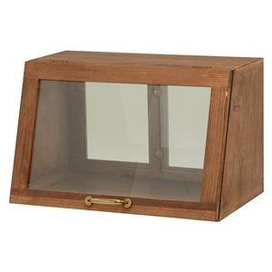カウンター上ガラスケース(キッチン収納/スパイスラック) 木製 幅40cm×高さ25cm ブラウン 取っ手/引き戸付き【代引不可】 B07PDBG523