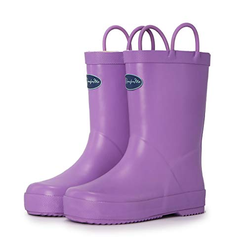 - KomForme Kids Rain Boots, Waterproof Rubber Matte Boots with Reflective Stripes and Easy-on Handles Light Purple, 2 Big Kid