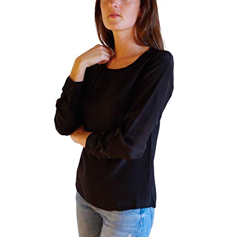 Blouse Soie Femme 100 Posh Noir de Gear Soie Rotondoseta qn7xnSEw0