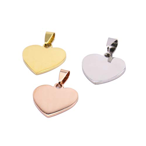 Monrocco 6 Pack 3 Color Stainless Steel Stamping Blanks Heart Shape Tag Pendant Blank Disc Charms