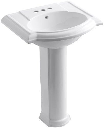 KOHLER K-2286-4-0 Devonshire Pedestal Bathroom Sink with 4""