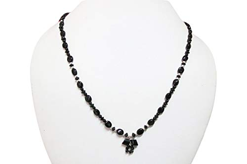 Designer Black Spinel Beaded Necklace Sterling Silver Findings 16