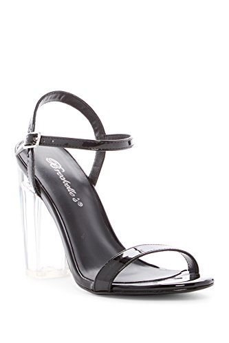 Emmie15 Womens Open Toe Ankle Strap Clear Block Heel Patent Buckle Platform Sandals (8.5, Black) (Birkenstock With Heel Strap)