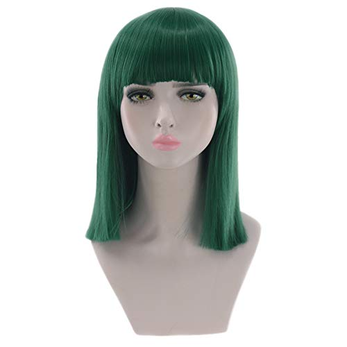 Women Shoulder Length Bob Wig Multicolor Long Straight Wig Bangs Heat Resistant Synthetic Hair Wigs for Party Cosplay Halloween (Green)