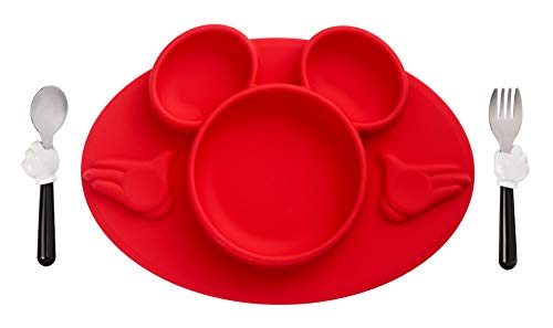 The First Years Disney Mickey Mouse Silicone Placemat with Stainless Steel Fork & Spoon 3 Piece Set]()
