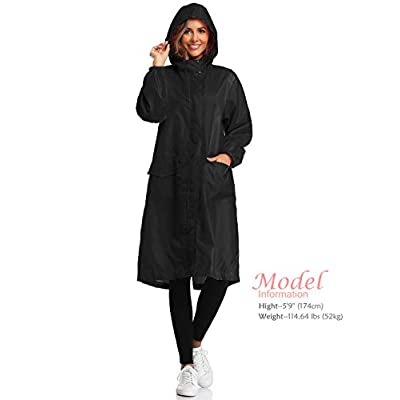 Amazon.com : SaphiRose Womens Long Hooded Rain Jacket Waterproof Lightweight Raincoat Windbreaker : Clothing