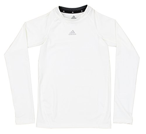 adidas Youth Boys Core Compression Long Sleeve Shirt, White -