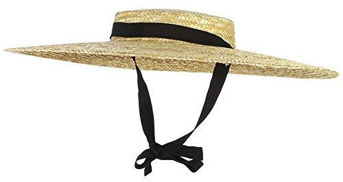 Jelord Women Vintage Boater Straw Hat Wide Brim Flat Top Floppy Derby Straw Hat Beach Sun Hats with Chin Strap Brim:18cm Beige