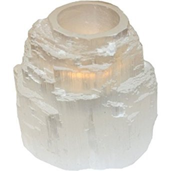 (Natural Clear Selenite Tower Candleholder Mystical Healing)