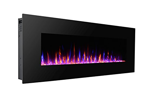 """3G Plus 50"""" Electric Fireplace Wall Mounted Heater Crystal Stone Flame Effect 3 Changeable Color, w/Remote, 1500/750 W - Black"""