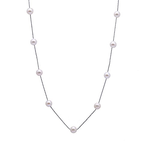 White Pink Black Pearl Necklace - 9