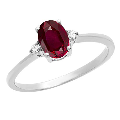 Dazzlingrock Collection 10K 7X5 MM Oval Ruby & Round Diamond Bridal Promise Engagement Ring, White Gold, Size 4.5