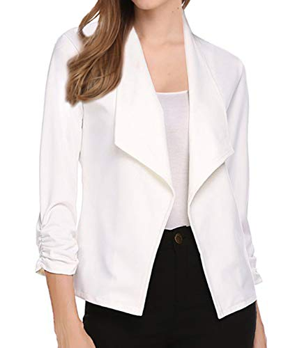- VeryAnn Women's 3/4 Sleeve Work Attire Office Blazer Open Front Cardigans Jacket White Medium