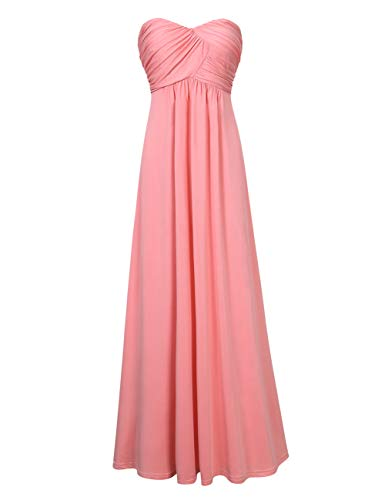 (GlorySunshine Women Strapless Sweetheart Bridesmaid Dresses Long Evening Gowns Pink M)