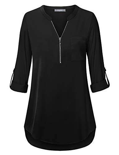 Furnex Business Casual Tops for Women, Womens Work Blouses V Neck 3/4 Sleeve Shirts Lightweight Chiffon Blouse Pleats Tunic Shirt for Spring Black XL