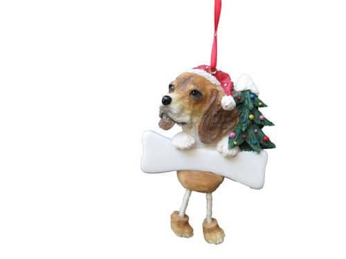 """Beagle Ornament With Unique """"dangling Legs"""" Hand Painted And Easily Personalized Christmas Ornament Picture"""