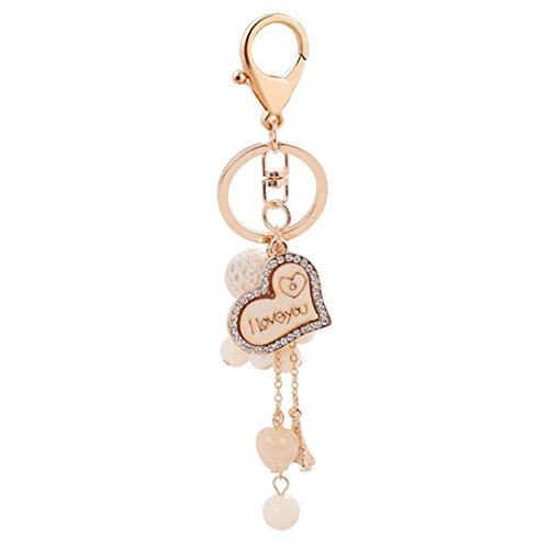 - DENER Creative Valentine's Day Lovers Gift Love Tag Acrylic Beads Key Chain Bags Popular Key Ring (Rose Gold)