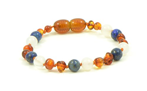 Price comparison product image Baltic Amber Teething Bracelet / Anklet Mixed with Semi Precious Stones - Hand-Made from Certified Natural Baltic Amber Beads (4.7 inches (12 cm),  Cognac / White Agate / Lapis Lazuli)