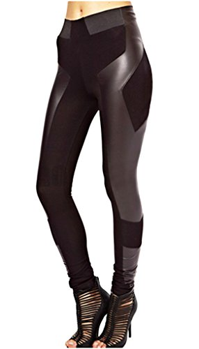 Lotsyle Womens Faux Leather Joint Leggings High Waist Stretch Panel Black ()