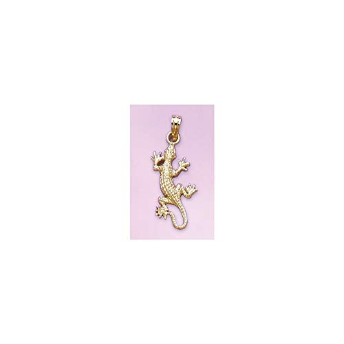 FB Jewels 14K Yellow Gold Lizard Gecko Pendant 2D