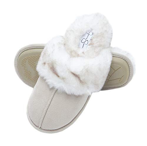Jessica Simpson Comfy Faux Fur Womens House Slipper Scuff Memory Foam Slip On Anti-Skid Sole (Size Large, Ivory)