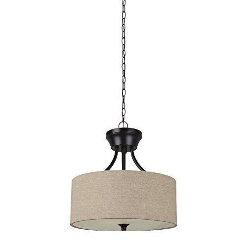 Sea Gull Lighting 77952-710 Stirling Two-Light Semi-Flush Convertible Pendant with Satin Etched Glass Diffuser and Beige Linen Fabric Shade, Burnt Sienna Finish