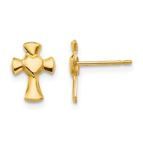 14k Yellow Gold Small Polished Heart Cross Post Earrings (8mm x 10mm) ()
