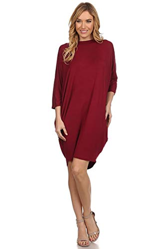 Solid Casual Sexy Side Draped Dolman Sleeves Dress/Made in USA Burgundy S Dolman Sleeve Mini Dress