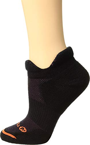 (Merrell Women's 1 Pack Performance Dual Tab Trail Runner Socks, black, Shoe Size: 4-9.5)