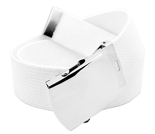 Men's Wide 1.5 Silver Military Slider Belt Buckle with Canvas Web Belt Small White