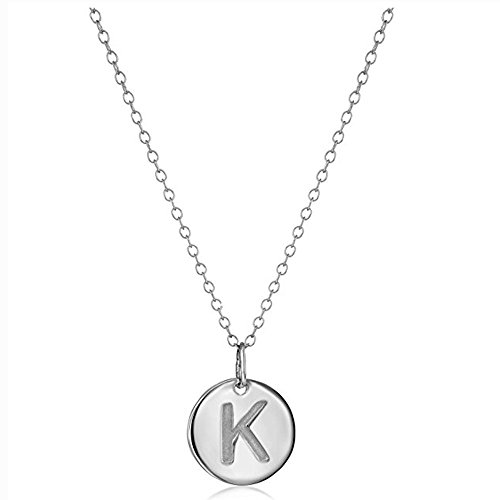 Disc Initial Charm Necklace (925 Sterling Silver Round Disc Initial Pendant Necklace (K))