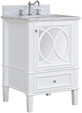 Olivia 24-inch Bathroom Vanity Carrara/White : Includes White Cabinet