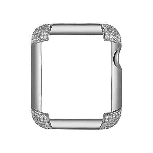 Sterling Silver & Rhodium Plated Jewelry-Style Apple Watch Case with Cubic Zirconia CZ Pavé Corners - Small (Fits 38mm iWatch)