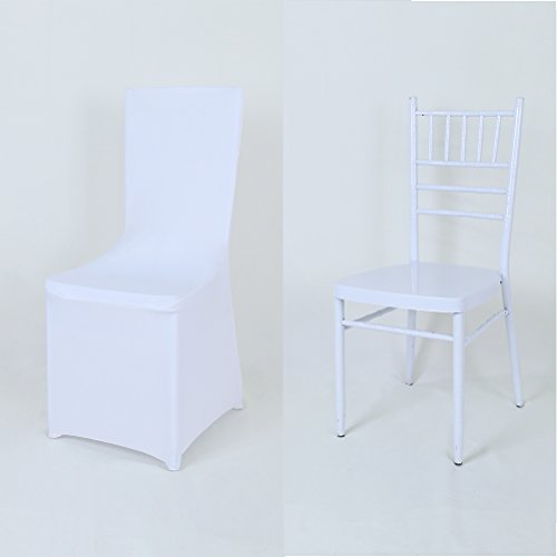 GFCC Set of 120pcs White Color Spandex Fitted Stretchable Chair Covers, Wedding Party Banquet Chair Covers ()