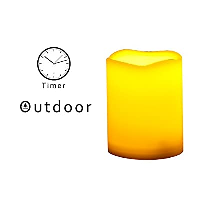"Outdoor Flameless LED Candles with Timer - Waterproof Plastic Resin Realistic Flickering Battery Operated LED Pillar Candles Wedding Party Garden Decoration Long Lasting 1500 Hours Battery Life 3""x4"""