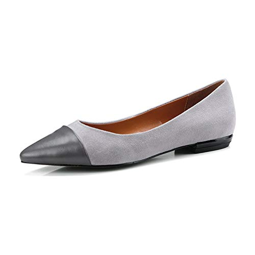 Vuitton Louis Zippy Organizer (Genuine Leather Women Flat Shoes Pointed Toe Boat Shoes Cow Leather Ladies Flats New Mixed Color Ballet Shoes Grey,Gray,8.5)