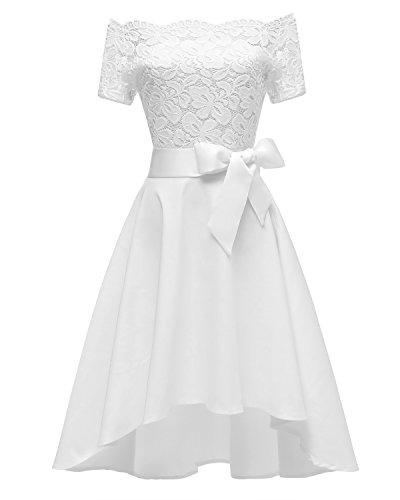 Women's Vintage Off Shoulder Floral Lace Cocktail Dress Half Sleeve Slim Boat Neck Formal Party Evening Wedding Swing Dress White, X-Large